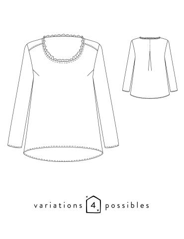 Dessins technique blouse Bohème, vue de face et de dos