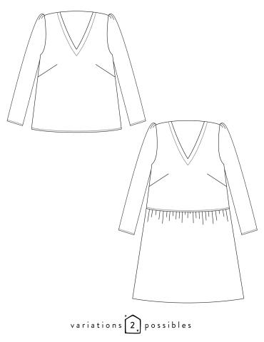patron de couture Dessins techniques de la blouse Idylle, toutes variations possibles