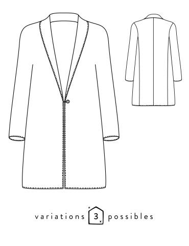 patron de couture Dessin technique du manteau France Duval Stalla, devant et dos