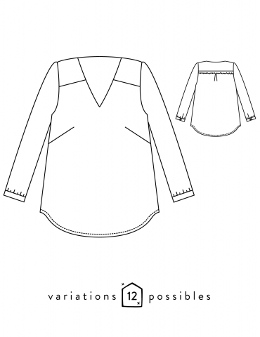 Dessin technique de la blouse Be Pretty de face et de dos