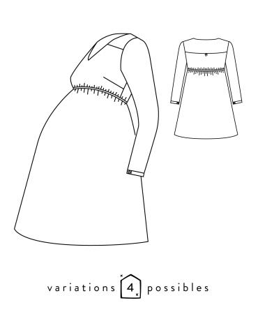 patron de couture Dessin technique de la robe Be Pretty femme enceinte, dos et devant