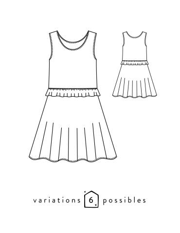 patron de couture Dessins techniques robe Petite Lune vue de face et de dos