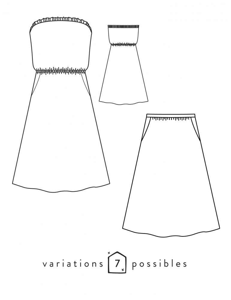 Dessin technique de la robe ou jupe Coconut de face et de dos