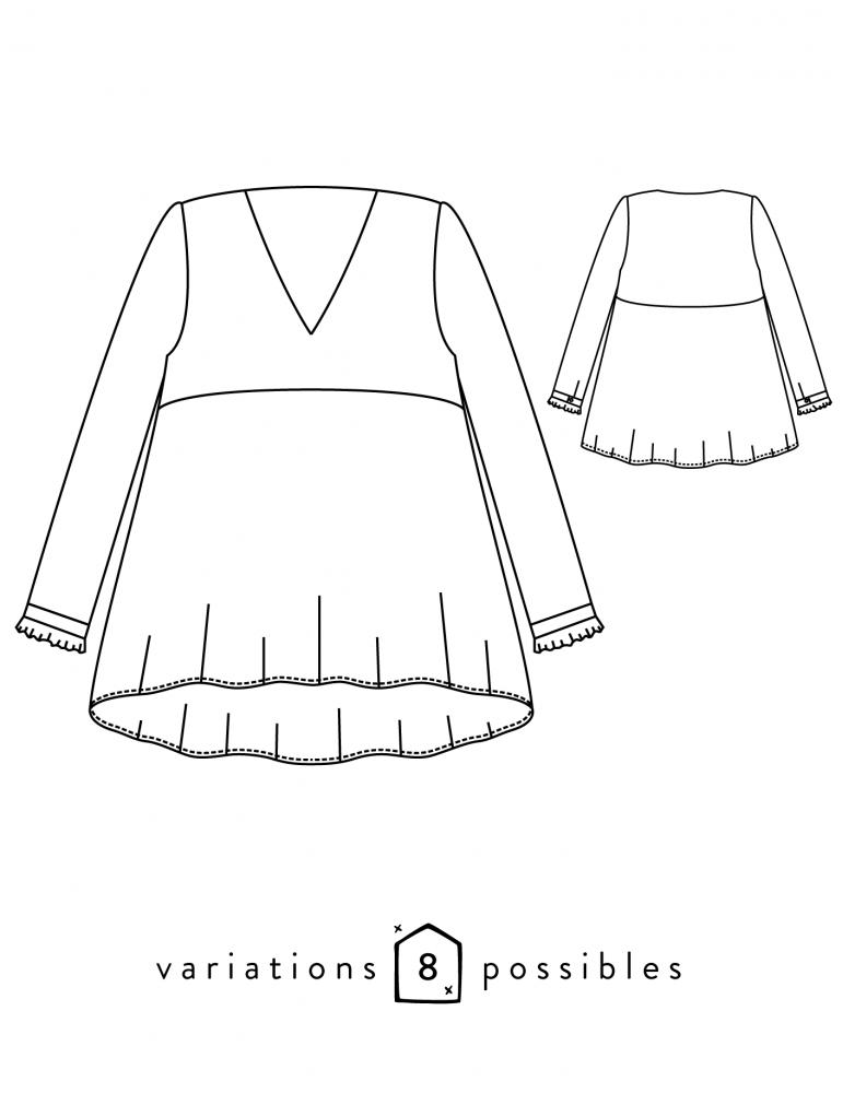 Patron de couture pdf ou pochette robe ou blouse femme zephir - Dessin de couture ...