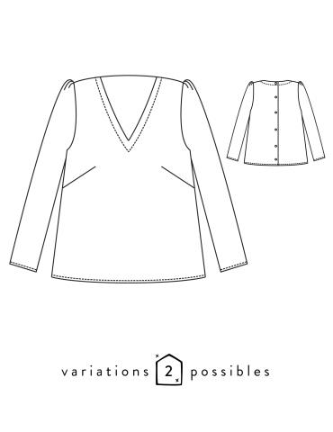 Dessins techniques de la blouse Idylle, vue de face et de dos