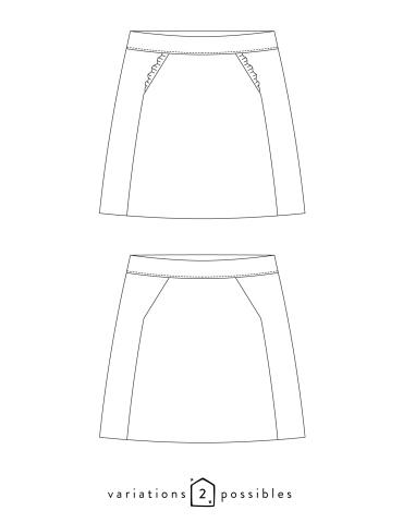patron de couture Dessins techniques jupe Novembre, avec ou sans froufrou aux poches
