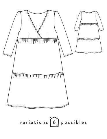 patron de couture Dessins techniques robe Eugénie, vue de face et de dos