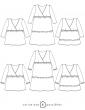 patron de couture Dessins techniques des déclinaisons possibles, blouse ou robe Eugénie