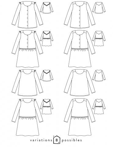 Dessins techniques blouse Vertige, vue de face et de dos