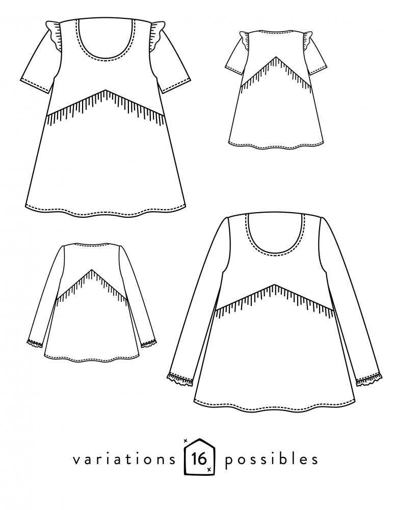 Dessins techniques blouse Virevolte, vue de face et de dos