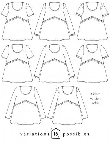 patron de couture Dessins techniques Virevolte, 16 variations possibles (ici que les 8 blouses)