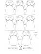 patron de couture Dessins techniques Virevolte, 16 variations possibles (ici que les 8 robes)