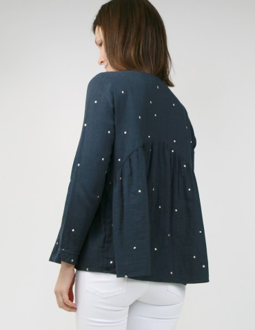 patron de couture Blouse Virevolte en double gaze stardust Atelier Brunette, version blouse manches longues, vue de dos portrait américain