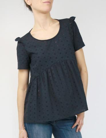 patron de couture Blouse Virevolte en broderie anglaise noire, version blouse manches courtes avec mancherons, vue de face