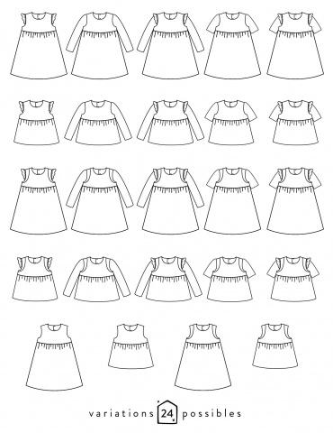 patron de couture Dessins techniques robe Bouton d'or avec ou sans manche, toutes variations possibles