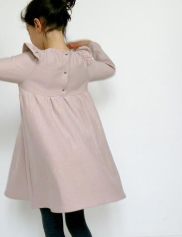 Robe Bouton d'or manches longues en sweat Twinkle rose Atelier Brunette, vue de dos