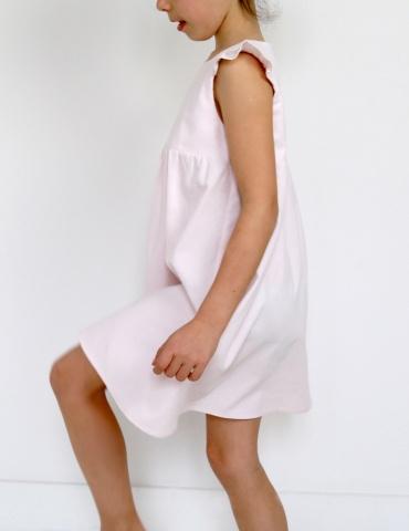 patron de couture Robe Bouton d'or sans manche réalisée dans un milleraies nude Bonton, vue de profil