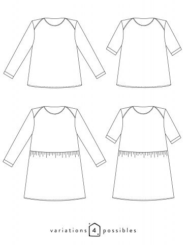 Dessins techniques du t-shirt James, toutes variations possibles