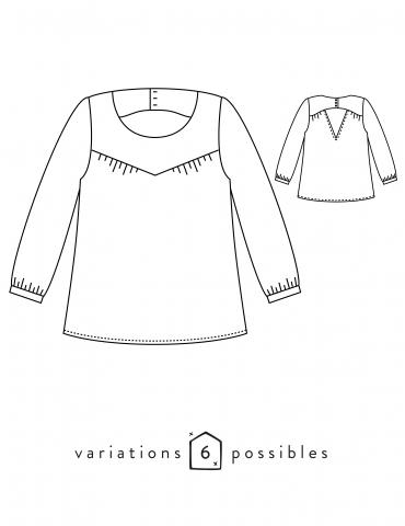 patron de couture Dessins techniques blouse Artesane, vue de face et de dos