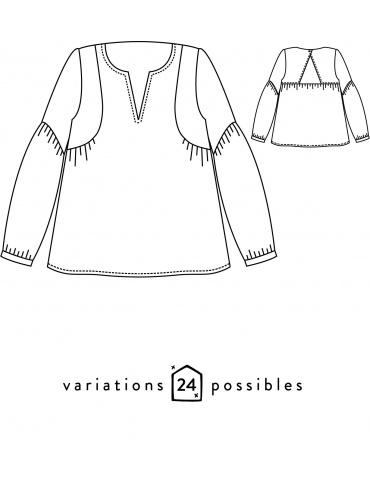 patron de couture Dessins techniques blouse Petites Choses, vue de face et de dos