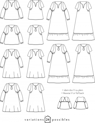 Dessins techniques blouse Petites Choses, 24 variations possibles