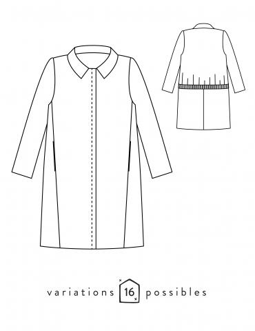Manteau Merci dans lainage Bordeaux Pretty Mercerie, version boutonnée froufrou de poche, vue de face déhanchée