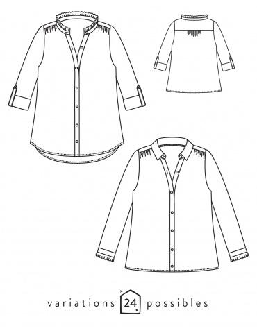 patron de couture Dessins techniques chemise Azur, vue de face et de dos