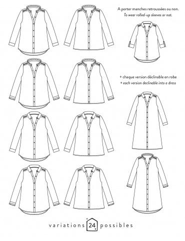 patron de couture Dessins techniques chemise Azur, 24 variations possibles