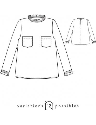 patron de couture Dessins techniques blouse Passion, vue de face et de dos