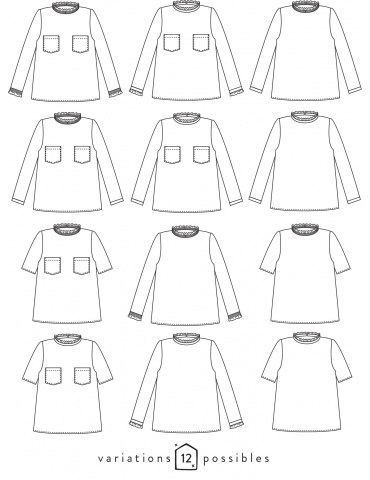 Dessins techniques blouse Passion, 12 variations possibles