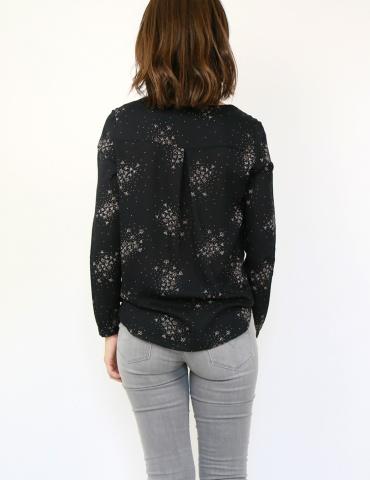 patron de couture Blouse Be Pretty réalisée dans le tissu Lilli de chez Atelier Brunette, vue de dos portrait américain