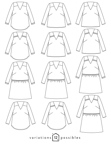 Dessin technique de la blouse Be Pretty toutes variations