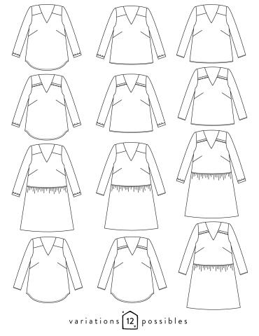 patron de couture Dessin technique de la blouse Be Pretty toutes variations