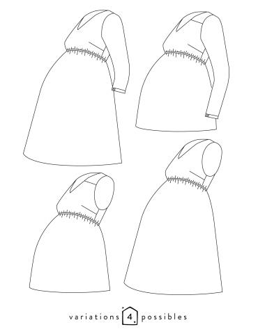patron de couture Dessin technique de la robe Be Pretty femme enceinte, toutes variations