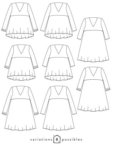 patron de couture Dessin technique des variations possibles du modèle Zéphir