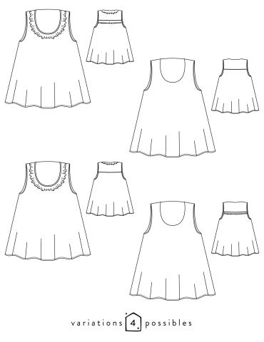 patron de couture Dessin technique du débardeur Alizé avec froufrou à l'encolure, toutes variations