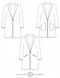patron de couture Dessin technique du manteau France Duval Stalla, toutes variations