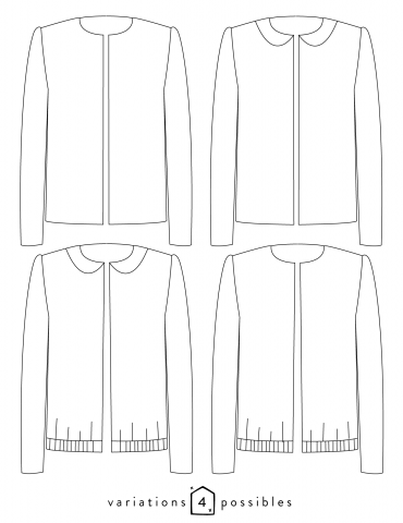 Dessin technique de la veste Claudie toutes variations possibles