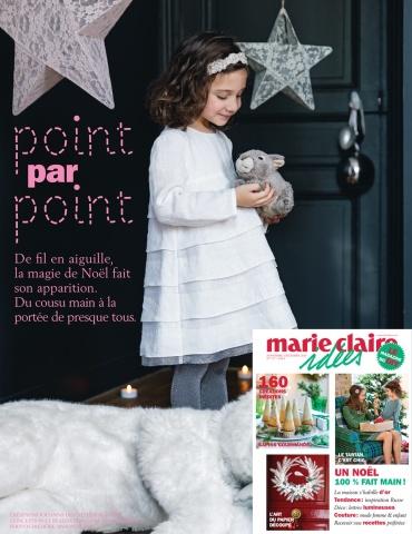 patron de couture Robe Petite Fée réalisée dans dans un lin plumetis blanc France Duval Stalla, parution dans le magazine Marie-Claire Idées