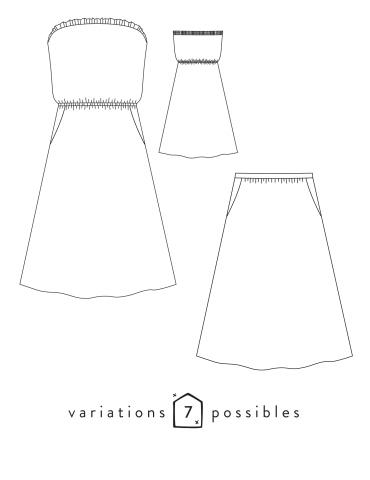 patron de couture Dessin technique de la robe ou jupe Coconut de face et de dos