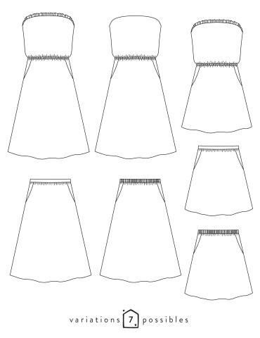patron de couture Dessins techniques de la robe ou jupe Coconut toutes variations possibles