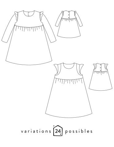 Dessins techniques robe Bouton d'or avec ou sans manche, vue de face et de dos